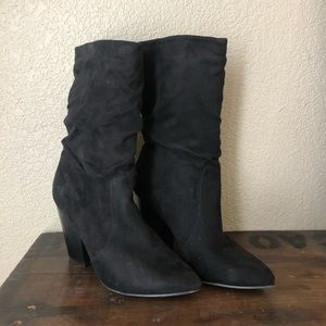 Slouchy suede black boots sz 8